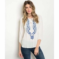 Women's White Long Sleeve Embroidered Top