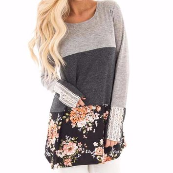 Women's Raglan Sleeve Colorblocked Gray Floral Print Long Sleeve Tunic Top with Lace Detail