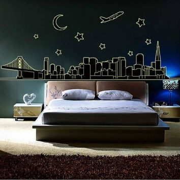 Night City Removable Fluorescence Glow in Dark Luminous Wall Sticker Home Decor Mural Decal