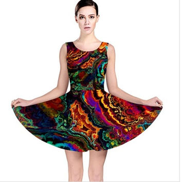 Wearable Art, custom made exclusive skater dress, flattering, abstract colorful enamel liquid paint design summer flare dress