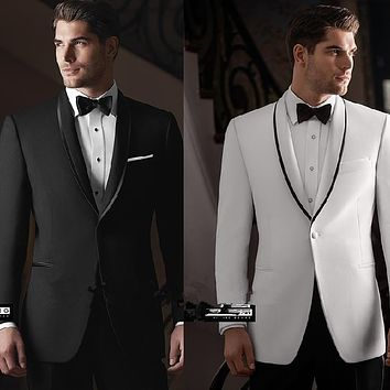 Slim Fit One Button Black White Groom Tuxedos Groomsmen Men's Wedding Prom Suits Bridegroom (Jacket+Pants+Girdle+Tie) K:618