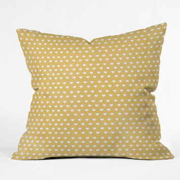 Allyson Johnson Dainty Yellow Hearts Throw Pillow