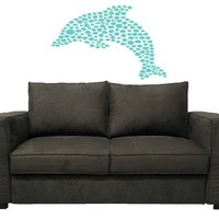 Housewares Wall Vinyl Decal Sea Ocean Animals Dolphin Made of Stones Bathroom Design Home Art Decor Kids Nursery Removable Stylish Sticker Mural Unique Design for Any Room