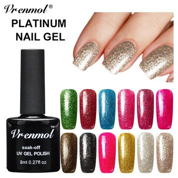 Vrenmol 8ml Super Shining Effect Platinum Nail Gel Polish Perfect Soak Off UV LED Gel Lacquer Semic Permanent Nail Polish