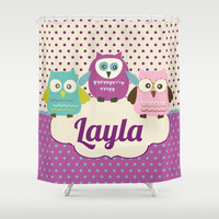 Owl Trio  Personalized Shower Curtain -Girl's  Bathroom Decor