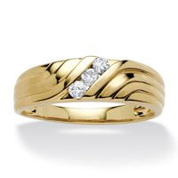 Men's 1/5 TCW Round Diamond Wave Ring in 10k Gold
