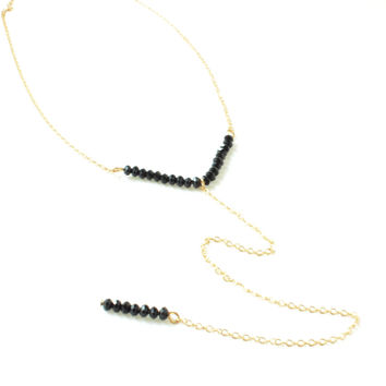 Gold Long Necklace with Delicate Black Beads