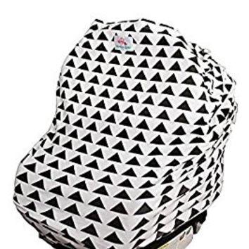 4-in-1 Baby Car Seat Cover - Versatile, Cotton Stretchy Fabric Canopy - Shopping Cart or Breastfeeding Cover Up - Soft, Breathable Swaddle Blanket for Infants, Newborns, Toddlers