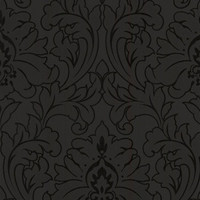 Sample of Majestic Black Damask Wallpaper by Graham and Brown