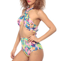 Tropical Print High Waist Two Piece Bikini