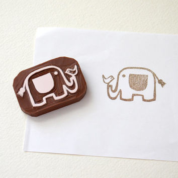 Hand Carved Rubber Stamp / Elephant With Bird