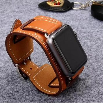 Luxury Genuine Leather Strap for Apple Watch band Buckle Cuff 38mm 42mm
