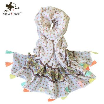 Marte&Joven Polka Dot/Floral Printed White Scarf for Ladies 2018 Spring Autumn Soft Long Shawl Hijab Female Warm Bandana Scarves