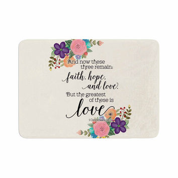 "Noonday Design ""Faith, Hope, And Love"" Beige Multicolor Memory Foam Bath Mat"