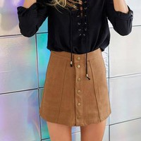 Fashion Suede Front Buckle Button Package Hip Skirt