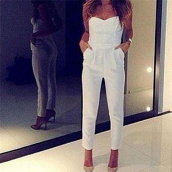 Sexy Women's High Waist Slim Jumpsuit Solid Pocket Long Jumpsuits White Black Strapless Jumpsuit Womens Jumpsuit Overalls