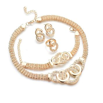 Women Elegant Gold Tone Fashion  Jewelry Set