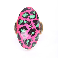 Fuchsia Faceted Leopard Print Oval Shape Ring
