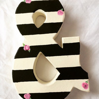 8 inch handpainted letter or ampersand,black and white stripe with pink roses,ANY letter A-Z,kids name letters,baby nursery decor,kids decor