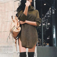 Fashion Turtleneck Split Sweater Coat
