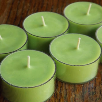 Mint Mojito Soy Tea Light Candles - Set of 6 Scented Soy Tealights - Lime Scented Candles - Pineapple Scented Candles - Sweet Candles