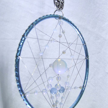 SALE 10% Off Light Blue Fairy Dream Catcher Wall Hanging Blue Agate Opalite Ornament Silver Fairy Pendant Emu Feathers Third Eye Chakra Gift