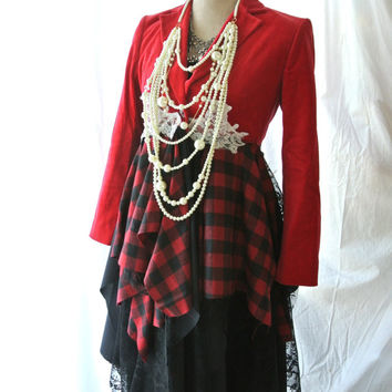Velvet Gypsy vagabond coat, bohemian duster, boho, punk rock plaid, lace lagenlook, Steampunk, romantic Victorian, true rebel clothing