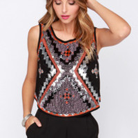 Follow the Leader Beaded Black Top