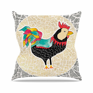 """Pom Graphic Design """"Cuckaroo Rooster"""" Black Gold Throw Pillow"""