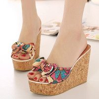 Butterfly Wedge High Heel Slippers [6047223361]