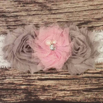 Beautiful Gray and Pink Tulle and Lace Baby Girl Headband! - Baby Headband - Hair Band - Hair Bows - Newborn - Infant - Girls - Baby Girl