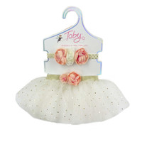 Toby™ Infant/Toddler 2-Piece Tutu and Headband Set in Pink/Gold