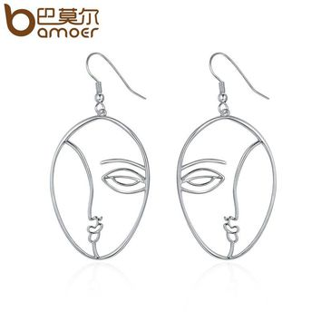 Popular Silver Color Hyperbole Abstract Face Dangle Drop Earrings for Women Fashion Earrings Jewelry YIE112