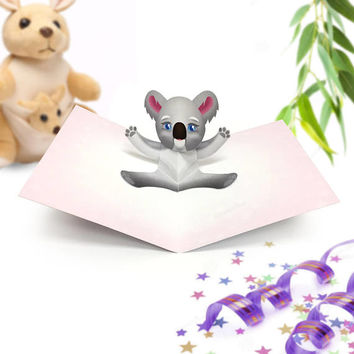 Koala Card / Koala Pop Up Card / Cute Koala Card / Koala Birthday Card / Koala Baby Shower Card / Koala Baby Shower Invite / Cute Koala