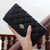 Fashion Crown Leather Clutch Wallet Ladies