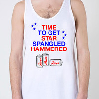 Funny Drinking Tank July 4 Shirt Fourth Of July America Tank Time To Get Star Spangled Hammered American Apparel Unisex Tank Top - SA224
