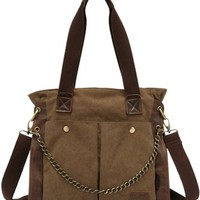 Zenness Hobo Style Women Shoulder Handbag Tote Bag College Messenger Bag (Khaki):Amazon:Shoes