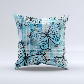 Vibrant Blue Butterfly Plaid ink-Fuzed Decorative Throw Pillow