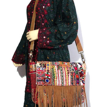 Vintage Banjara Laptop Bag Tribal Leather Cross Body Bag Gypsy Banjara  Messange Bag Leather Fringe Bag