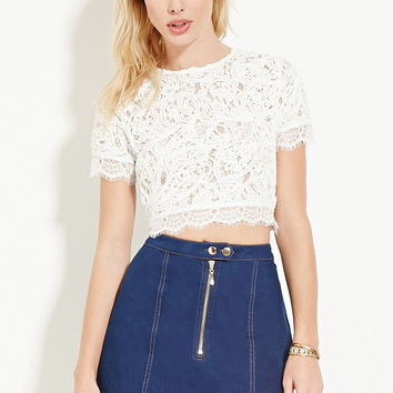 Textured Lace Crop Top