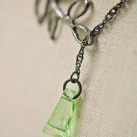 Handmade Lariat Necklace Gunmetal Plated Leaf/Branch with Green Swarovski Crystal Drop and Twisted Gunmetal Chain