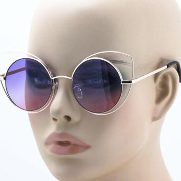 Round Circle CAT EYE Women Eyewear Gradient Lens Metal Frame Elite Sunglasses