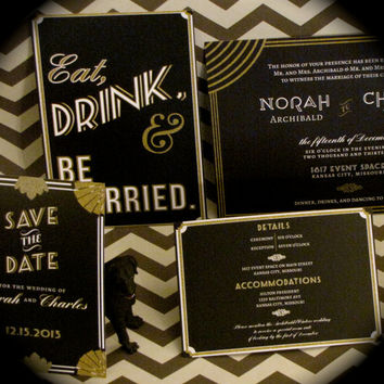 Gatsby Wedding Invitation // SAMPLE SET // Art Deco