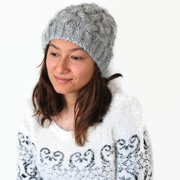 Gray Beanie Hat , Oversized hat , Gray knit hat women, Gray beanie women.