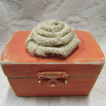 Coral Blush Shabby Chic Rustic Woodland Cottage CHic Wedding Ringbearer Box With Burlap Flower