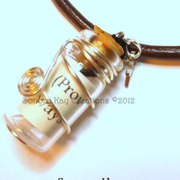 Message  in a Bottle Wire Wrapped Pendant  on Brown Leather Cord