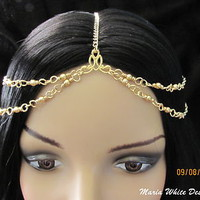 GRECIAN Gold Chain CROWN Hair Cuff Head Piece GOLD PEARL Headband BOHO Jewelry