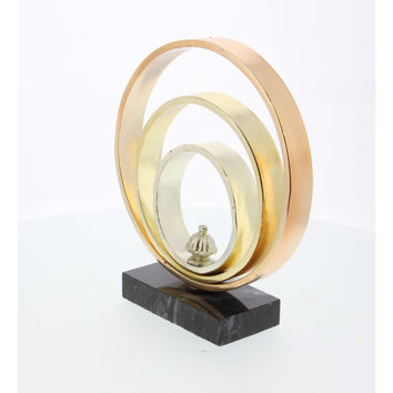 "Tricolor Metal Ring Sculpture With Marble Base 9""W, 10""H"