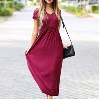 Burgundy PIKO V-Neck Babydoll Maxi Dress
