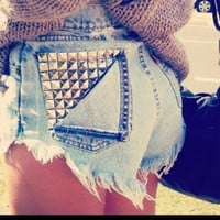 High waist vintage studded shorts (Only ONE pair left of each size)